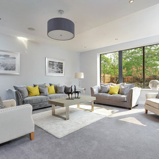 Design ideas for a classic formal living room in Other with white walls, carpet, no fireplace, no tv and grey floors.
