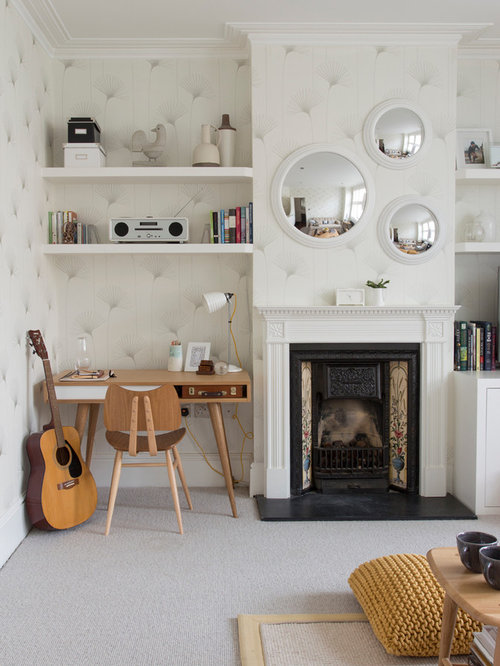 living room office combination. Contemporary carpeted living room idea in London with a music area  beige walls Living Room Office Combination Houzz