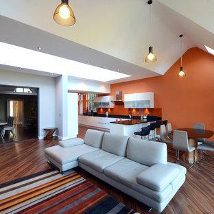 ウエストミッドランズの巨大なコンテンポラリースタイルのおしゃれなLDK (オレンジの壁、据え置き型テレビ) の写真