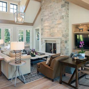 Идея дизайна: большая открытая, парадная гостиная комната в стиле современная классика с белыми стенами, стандартным камином, светлым паркетным полом, фасадом камина из камня и коричневым полом без ТВ