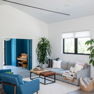 Mid-sized 1960s formal and open concept porcelain tile, gray floor, shiplap ceiling and vaulted ceiling living room photo in San Francisco with white walls and no fireplace