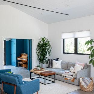 Immagine di un soggiorno minimalista di medie dimensioni e aperto con sala formale, pareti bianche, pavimento in gres porcellanato, nessun camino, pavimento grigio, soffitto in perlinato e soffitto a volta