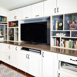 entertainment center using off the shelf akurum ikea kitchen cabinets