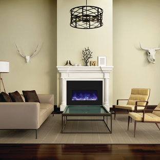 Großes, Repräsentatives, Offenes Modernes Wohnzimmer mit weißer Wandfarbe, hellem Holzboden, Gaskamin, gefliestem Kaminsims und Multimediawand in Boston