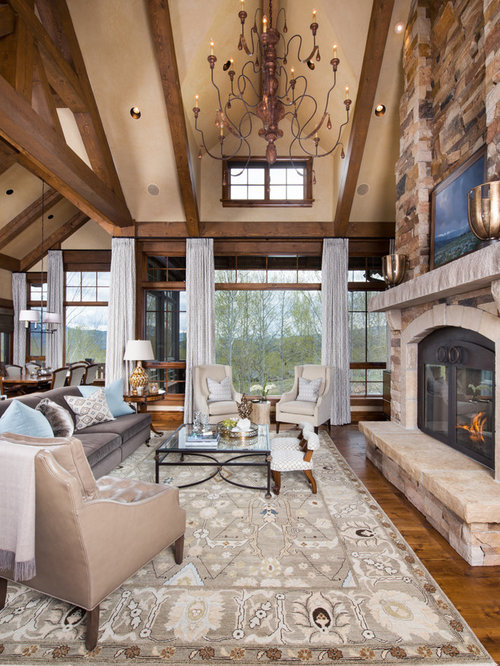 Example Of A Mountain Style Dark Wood Floor And Brown Floor Living Room  Design In Denver