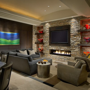 Living room - large contemporary formal and open concept travertine floor living room idea in Phoenix with a ribbon fireplace, a stone fireplace, a wall-mounted tv and white walls