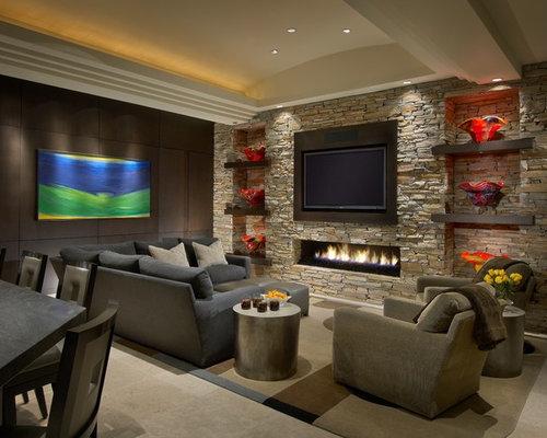 ides dco pour un grand salon contemporain ouvert avec une salle de rception une chemine - Deco Salon Moderne Avec Cheminee