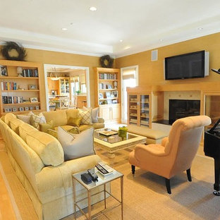 75 Beautiful Yellow Living Room With A Wall Mounted Tv Pictures Ideas February 2021 Houzz