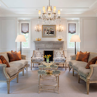 Elegant Formal Living Room With Relaxed Roman Shades