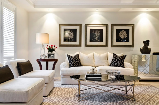 Transitional Living Room by Highgate House