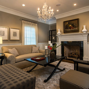 Living room - transitional formal medium tone wood floor living room idea in New York with brown walls, a standard fireplace and no tv