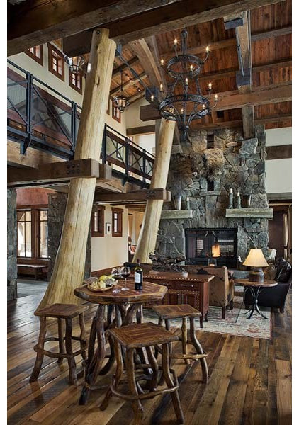 Traditional Living Room by Montana Reclaimed Lumber Co.