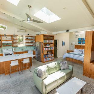 Ejemplo de salón abierto y abovedado, minimalista, de tamaño medio, con paredes blancas, suelo de cemento, chimenea de esquina, televisor colgado en la pared y suelo gris