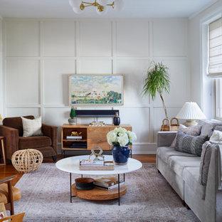 Ispirazione per un soggiorno costiero di medie dimensioni con pannellatura