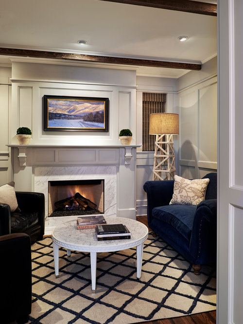 inspiration for a timeless living room remodel in denver with gray walls
