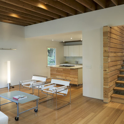Inspiration for a contemporary open concept living room remodel in Omaha