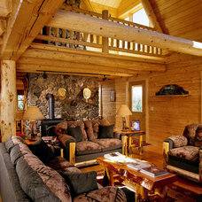 Traditional Living Room by Real Log Homes