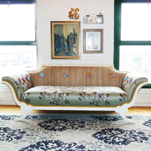 Example Of A Cottage Chic Medium Tone Wood Floor Living Room Design In  Denver With White