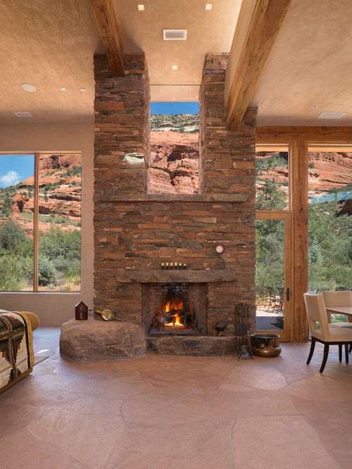 Natural stone fireplace houzz for Southwestern fireplaces