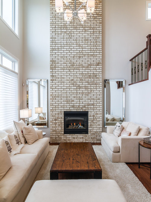 Living Room With Brick Fireplace brick fireplace | houzz