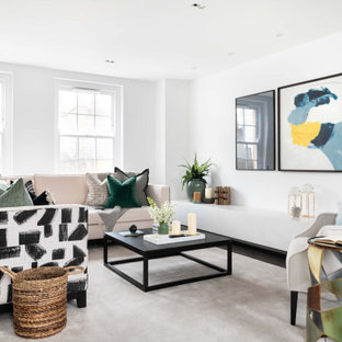 Inspiration for a contemporary open plan living room in London with white walls, dark hardwood flooring and brown floors.