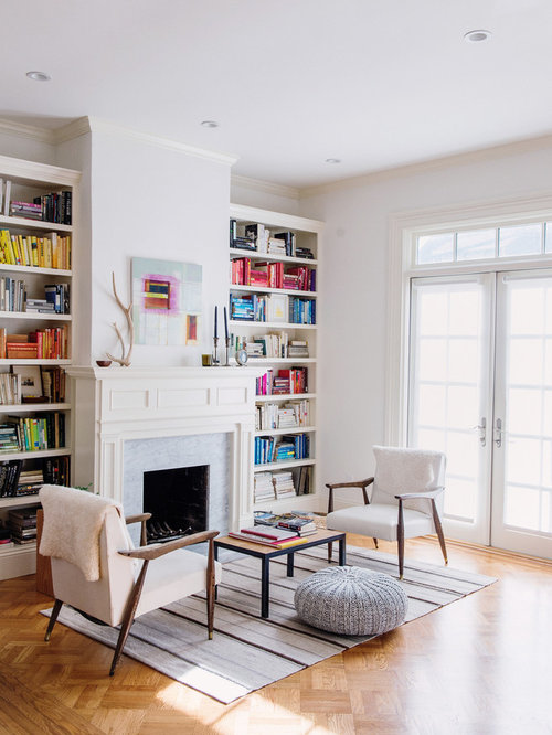 Living Room With Books: Bookshelves Fireplace