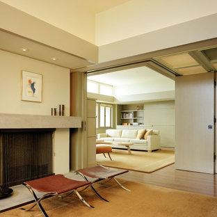 Example of a minimalist living room design in Los Angeles with beige walls and a standard fireplace