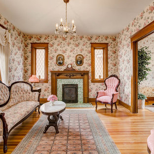 Ornate Formal Medium Tone Wood Floor Living Room Photo In Denver With Multicolored Walls A
