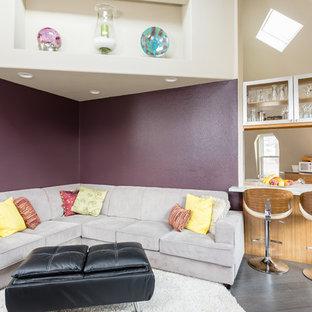 Esempio di un soggiorno classico di medie dimensioni e chiuso con sala formale, pareti viola, pavimento in gres porcellanato e pavimento grigio