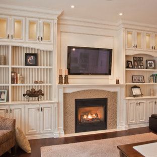 Photo of a classic living room in Miami with brown walls, laminate floors, a stone fireplace surround and a wall mounted tv.