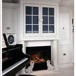 35 ribbon fireplace Traditional Living Design Photos