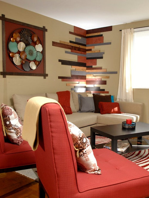 Inspiration For A Small Contemporary Open Concept Medium Tone Wood Floor Living  Room Remodel In Philadelphia