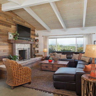 サンディエゴのビーチスタイルのおしゃれなリビング (茶色い壁、標準型暖炉、壁掛け型テレビ、グレーの床) の写真
