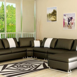 Espresso Brown Bonded Leather Sectional Sofa - Presenting the stylish and inventive contemporary furniture design is this modern sectional sofa that is built to make your living room look more up-to-date. The cushioned armrests are crescent in shape. To blend the rectangular upholstered backrests are extensive upholstered seats. Asymmetrical in shape is the corner chair. Supporting the 5004 modern sectional is stainless steel legs and includes coordinating throw pillows and an ottoman. Upholstered in bonded leather/PVC, it can be modified to genuine leather quality via our sales staff.