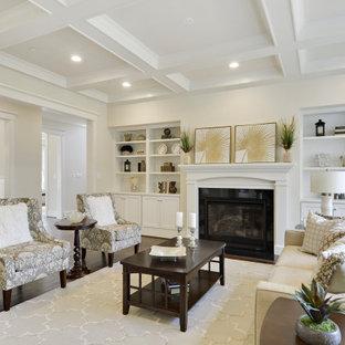 Inspiration för ett stort vintage allrum med öppen planlösning, med ett finrum, beige väggar, mellanmörkt trägolv, en standard öppen spis, en spiselkrans i gips och brunt golv