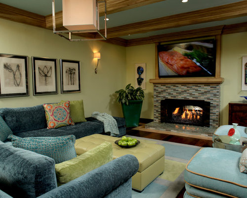 Houzz Blue Family Room Design Ideas amp Remodel Pictures