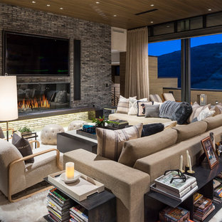 Inspiration For A Huge Rustic Gray Floor Living Room Remodel In Salt Lake  City With Gray