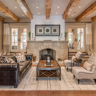 Tuscan Formal Medium Tone Wood Floor Living Room Photo In Nashville With Beige Walls A