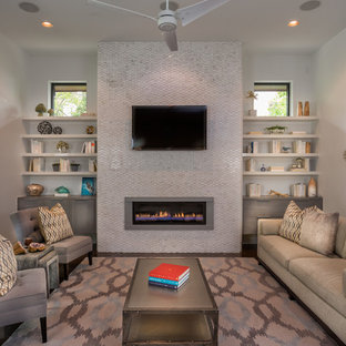 Living room - mid-sized contemporary living room idea in Austin with a ribbon fireplace and a wall-mounted tv