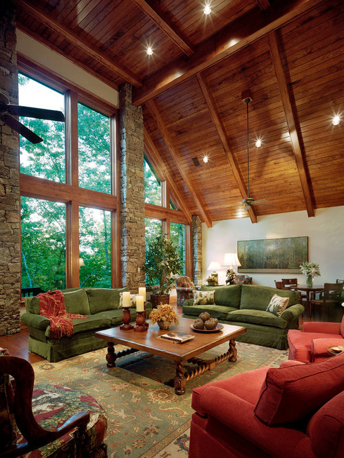 Wood Paneled Room Design: Rustic Living Room Design Ideas, Remodels & Photos