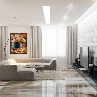 マイアミの中サイズのコンテンポラリースタイルのおしゃれなLDK (フォーマル、白い壁、セラミックタイルの床、横長型暖炉、タイルの暖炉まわり、据え置き型テレビ) の写真