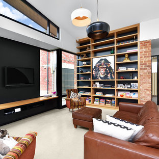 Inspiration for a contemporary living room in Adelaide with white walls, concrete floors, a wall-mounted tv and grey floor.