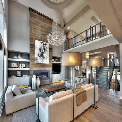 Living room - transitional formal and open concept medium tone wood floor and brown floor living room idea in Kansas City with gray walls, a ribbon fireplace, a metal fireplace and a tv stand