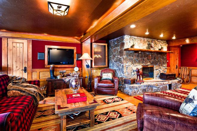 Rustic Living Room by Monica Durante Interiors, Inc