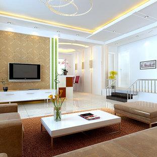 Cette Photo Montre Un Salon Moderne Avec Un Mur Blanc.