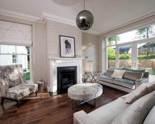 Inspiration For A Large Contemporary Living Room Remodel In London With Beige Walls And Standard