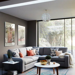 Inspiration for an expansive modern formal enclosed living room in London with grey walls, slate flooring and grey floors.