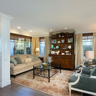 Example of a mid-sized classic formal porcelain floor living room design in San Diego with yellow walls