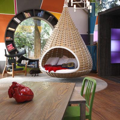 Living room - contemporary living room idea with no fireplace and no tv