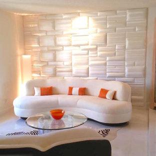 Idéer för mellanstora funkis separata vardagsrum, med vita väggar, linoleumgolv och beiget golv